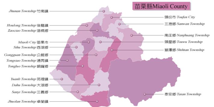 本縣行政區域圖(資料來源:內政部地政司)