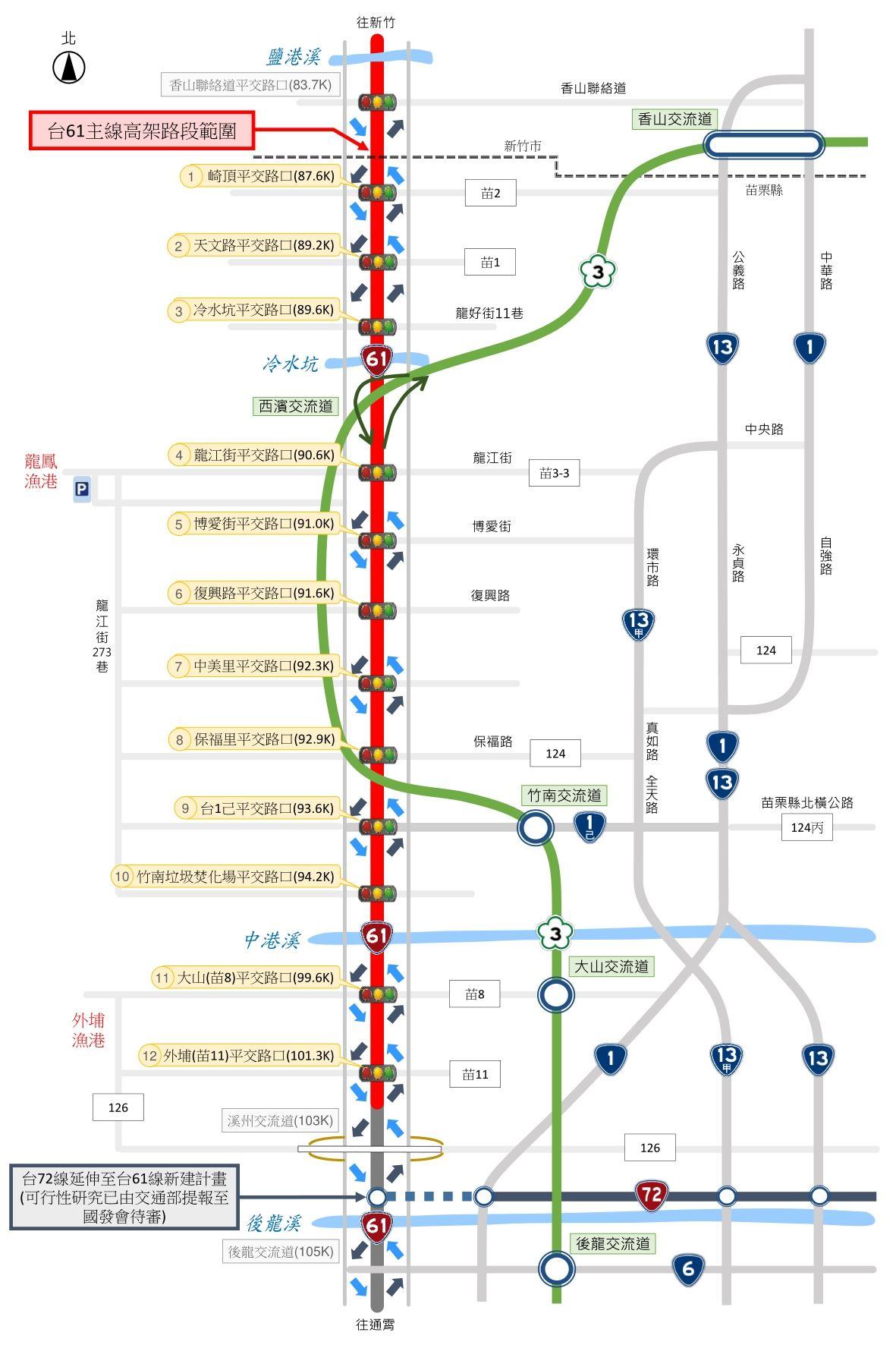 台61線於竹南鎮、後龍鎮等12處平交路口立體化示意圖