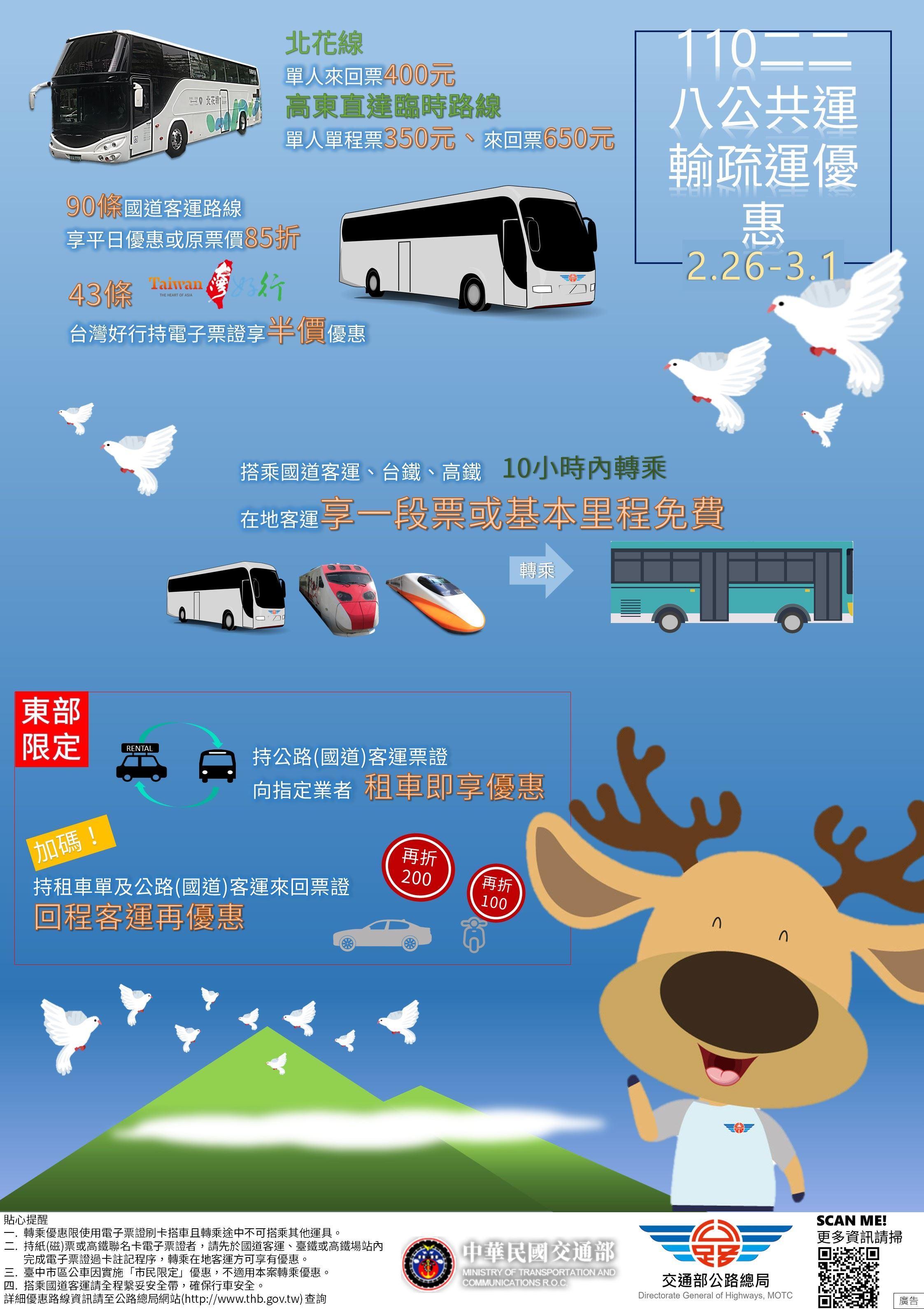 交通部公路總局110年228連續假期轉乘優惠措施,請民眾多加利用!