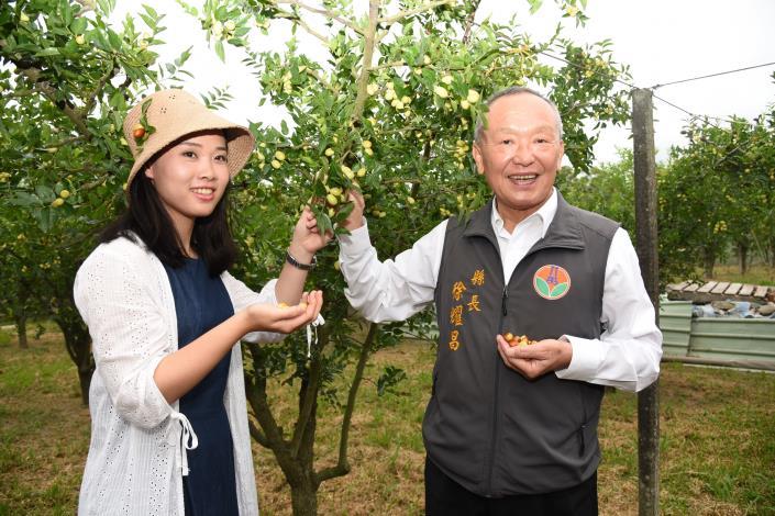 縣長徐耀昌與地方各界主持開園儀式後入園採紅棗