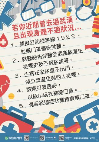因應中國大陸武漢市不明原因肺炎疫情在當地及返國後之注意事項